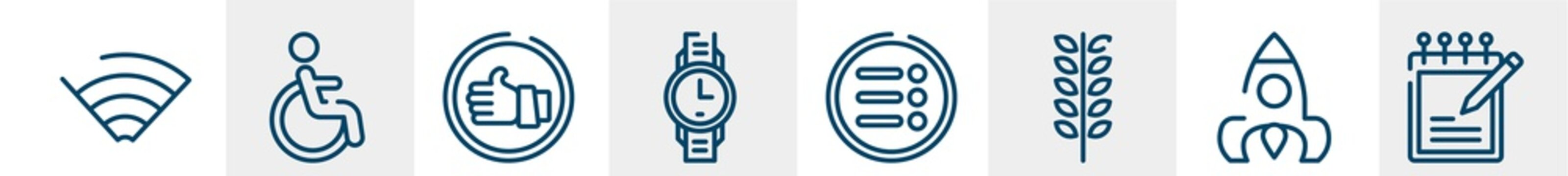 line icons such as wifi, wheelchair, good, watch, more, write outline vector sign. symbol, logo illustration. linear style icons set. pixel perfect vector graphics.