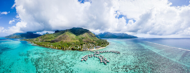 Obraz Aerial view of Moorea island, French Polynesia - fototapety do salonu