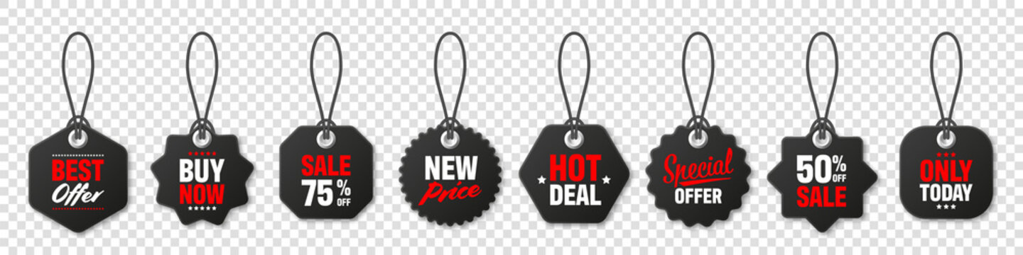 Realistic black price tags collection. Special offer or shopping discount label. Retail paper sticker. Promotional sale badge with text. Vector illustration.