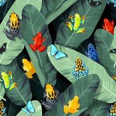 Seamless pattern with tropical frogs and palm leaf