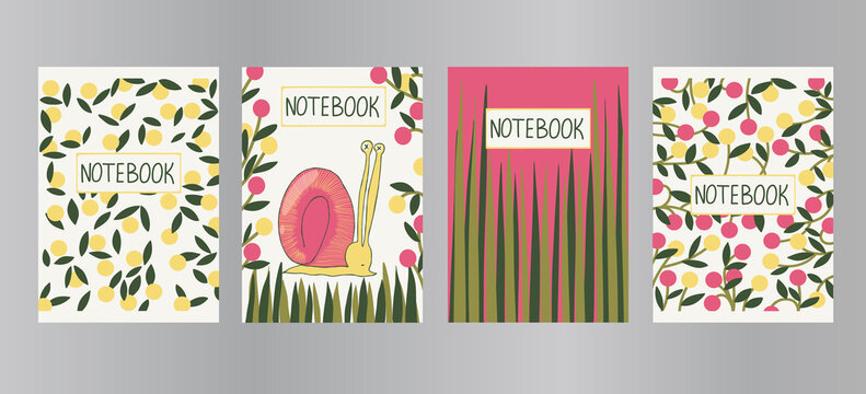 Trendy vector set of a4 covers in modern flat style. Hand drawn notepad templates with leaves, berries, grass, snail, lettering. Design concept for flyer, workbook, school book, title sheet, notebook.