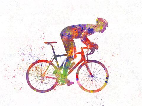 Racing cyclist in watercolor