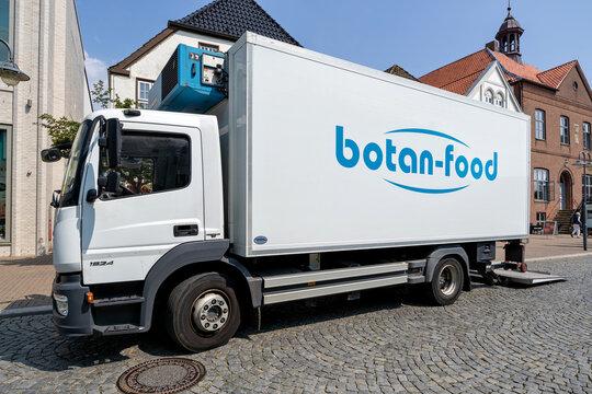HUSUM, GERMANY - JUNE 18, 2021: botan-food Mercedes-Benz Atego temperature controlled truck