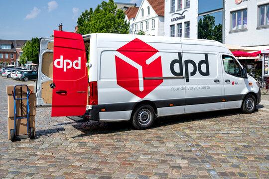 HUSUM, GERMANY - JUNE 18, 2021: dpd Mercedes-Benz Sprinter delivery van