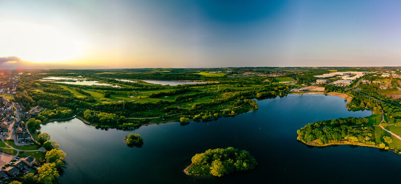 Panoramic drone aerial view of Manvers Lake, Rotherham, South Yorkshire