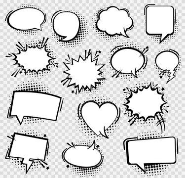 Set comic book text speech bubble in pop art style. Vector illustration