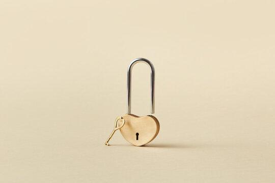 Heart shaped padlock with key