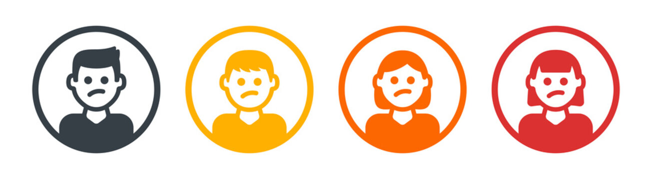 Worry, thinking icon avatar profile isolated on white background. Including man and woman character.