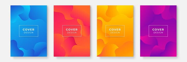 Obraz Abstract color background set for creative design. Blue green red yellow purple abstract cover design for business and corporate. Colorful abstract geometric background. Liquid dynamic gradient waves. - fototapety do salonu