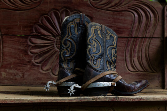Cowboy Boots with Spurs at Ranch