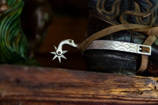 Close Up of Cowboy Boots with Spurs