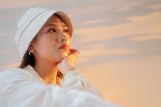 portrait of fashion Asian woman with hat