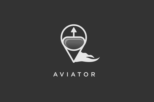 aviator logo design. aviation training center. club. game . application. sport.pilot helmet icon for aviator logo design template illustration in black background