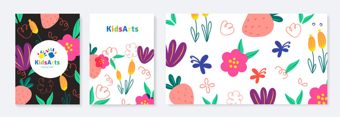 Kids Arts background vector. Cute kids logo and stationery. Colorful cover design for advertising brochure, pattern, kids menu, invitation card, kindergarten poster, social media, website background.