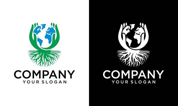 Illustrations vector hands like a tree. World wetlands day, save earth logo design template. save globe logo vector icon