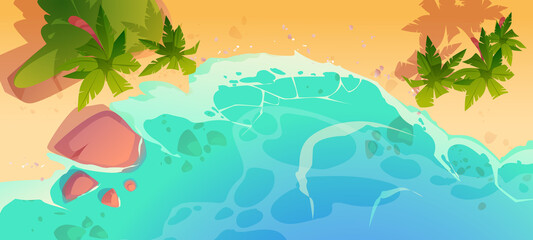 Summer ocean beach top view. Sandy sea shore with stones and palm trees. Vector cartoon illustration of tropical seaside with yellow sand, coast with blue water waves