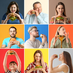 Group of people with tasty burgers on color background