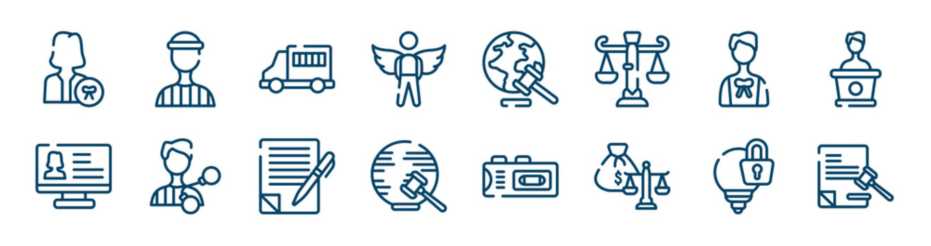 law and justice icons set such as prisioner, innocent, advocate, criminal database, wills and trusts, intellectual property outline vector signs. symbol, logo illustration. linear style icons set.