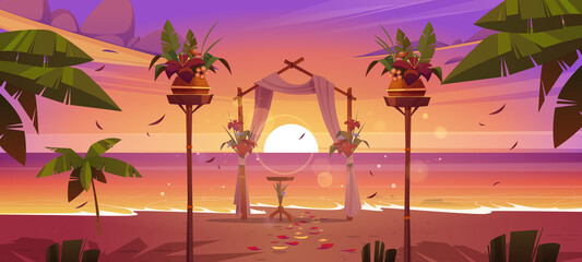 Fototapeta Beach wedding ceremony with floral arch and decoration on sea shore at sunset. Vector cartoon landscape of tropical ocean coast with decoration for marriage celebration, palm trees and evening sun obraz