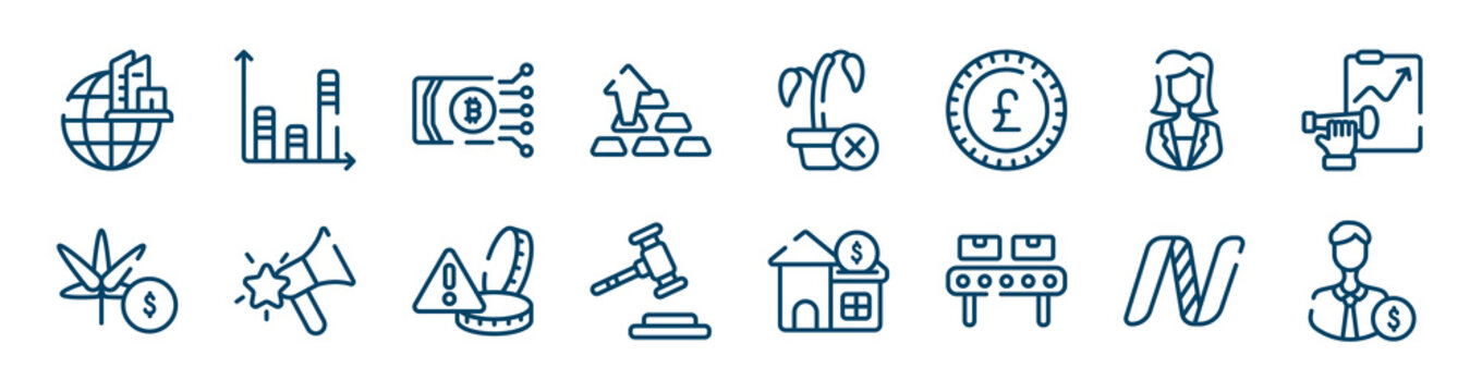 crowdfunding icons set such as bars, ingot, businesswoman, marijuana, alerts, nasdaq outline vector signs. symbol, logo illustration. linear style icons set. pixel perfect vector graphics.