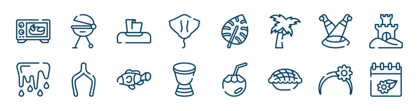 spring icons set such as grill, stingray, scene, thaw, clown fish, headband outline vector signs. symbol, logo illustration. linear style icons set. pixel perfect vector graphics.
