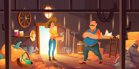 Obraz Farmers in barn with chickens, straw and pumpkins. Vector cartoon interior of wooden shed with hay stacks, hens, garden tools and sacks. Man and woman with harvest in crate in barnhouse on farm - fototapety do salonu