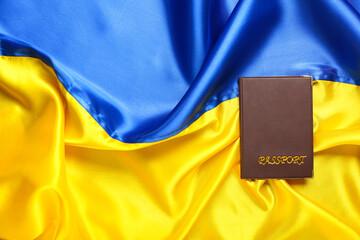Passport on flag of Ukraine