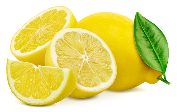 Lemons and leaves, isolated on white background. Full depth of field. Lemon With clipping path