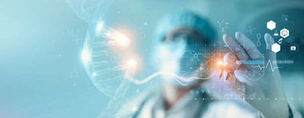 Fototapeta Abstract luminous DNA molecule. Hand of doctor touching and cut dna for checking with analysis chromosome DNA genetic of human on virtual interface. Medicine, Medical science and biotechnology. obraz