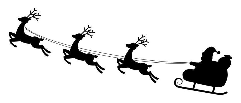 サンタクロースが乗ったソリをトナカイが引くベクターイラスト素材
