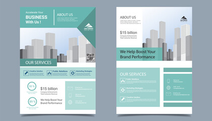 Obraz Flyer brochure  business layout template in A4  size. Modern  template cover design, annual report, poster  with geometric and wavy  lines for business promotion white background, vector illustration  - fototapety do salonu