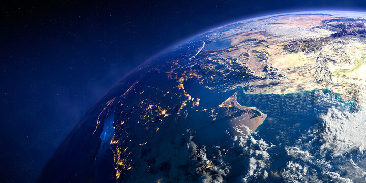 Planet Earth with exaggerated precise relief and volumetric atmosphere. Day-night transition. Region and countries of the Persian Gulf. 3D rendering. Elements of this image furnished by NASA