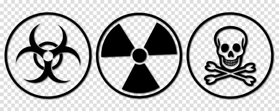 Biohazard, toxic and radiation signs. Line art style. Danger vector icons isolated on transparent background