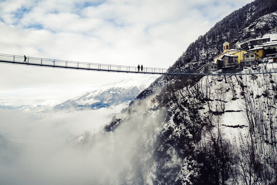 Aerial view of the bridge in the sky at Campo Tartano in Valtellina, Italy