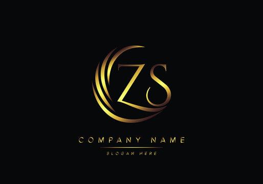 alphabet letters ZS monogram logo, gold color elegant classical