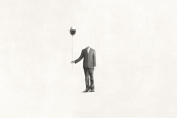 Obraz illustration of man without face holding black balloon with hat, surreal absence concept - fototapety do salonu