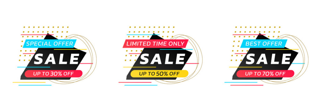 Sale badge, tag or label set with abstract shapes. Modern discount stickers with 20, 30, 50 percent price off. Special offer design layout. Vector illustration.