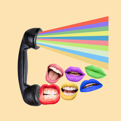 Modern design, contemporary art collage. Inspiration, idea, trendy magazine style. Female lips on...