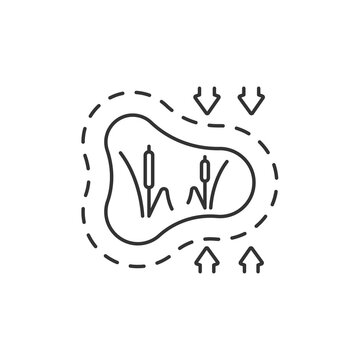 Disappearing wetlands linear icon. Land development. Drought damage. Water, air pollution. Thin line customizable illustration. Contour symbol. Vector isolated outline drawing. Editable stroke