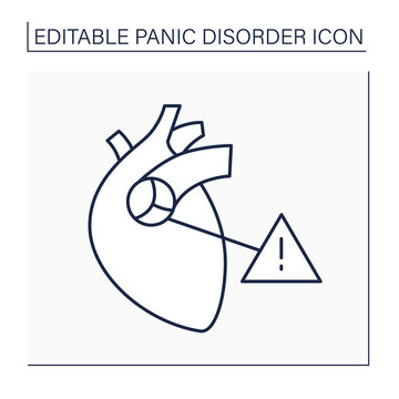 Mitral valve prolapse line icon.Anxiety symptoms. Palpitations and chest pain.Heart attack.Panic disorder concept. Isolated vector illustration. Editable stroke