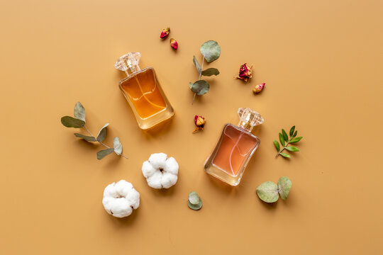 Perfume bottles flat lay with flowers and leaves, top view