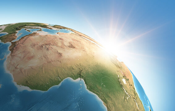 Sun shining over a high detailed view of Planet Earth, focused on Africa. 3D illustration - Elements of this image furnished by NASA