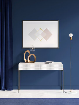A room in deep blue tones with a horizontal poster over a white console with decorative copper vases, a thick blue curtain, a metal lamp, a blue carpet on a white parquet floor. Front view. 3d render