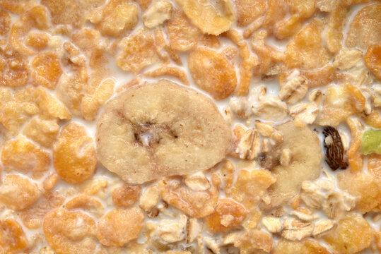 Macro shot of muesli with milk. Healthy breakfast. Top view.