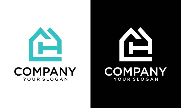 Real estate letter CH/HC logo in a house home shape icon design template element