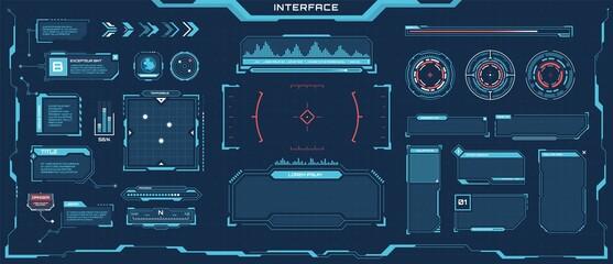Fototapeta Futuristic hud elements. Cyberpunk space digital panels, frames, callout titles, progress bars. Sci-fi game interface element vector set. Virtual screen with digital panel for games obraz