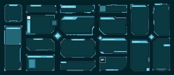 Fototapeta Hud frames. Futuristic text box, border, frame. Sci-fi digital screen, hologram panel. High tech hud interface elements vector set. Modern windows with buttons for computing innovative game obraz