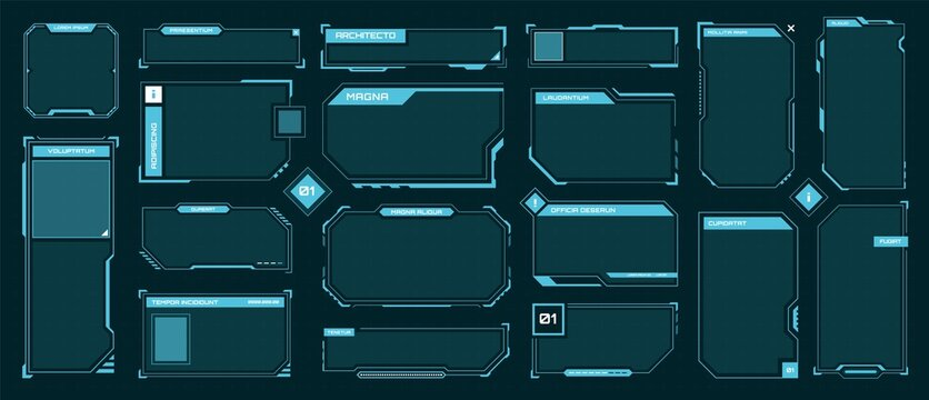 Hud frames. Futuristic text box, border, frame. Sci-fi digital screen, hologram panel. High tech hud interface elements vector set. Modern windows with buttons for computing innovative game
