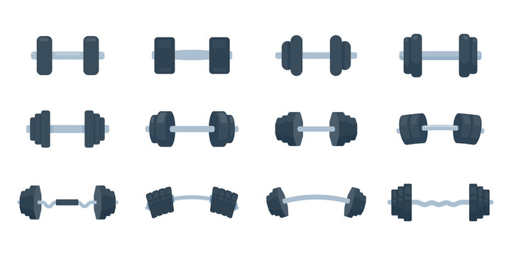 Fitness dumbbells made of steel with weights for lifting exercises to build muscle.