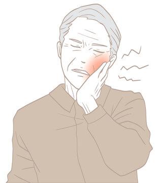 虫歯の高齢男性(パステルカラー)